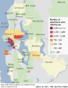 2017 Apartment boom data map showing areas around Seattle with the largest opening apartments