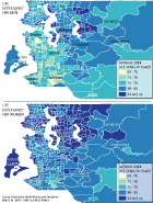 Life expectancy for men and women across King County by census tracts