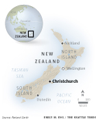 Locator map of Christchurch in New Zealand