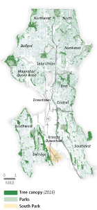 2016 Tree canopy of Seattle map highlighting South Park