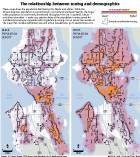 Map racial population densities and multifamily zoning in Seattle